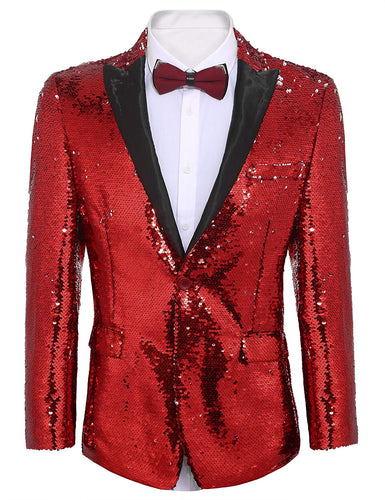 Men's Shiny Sequins Suit Jacket Blazer One Button Tuxedo Jacket - kats closet1