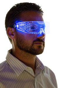 Neon Nightlife LED Light Up Glasses, Single Lens Tron Style