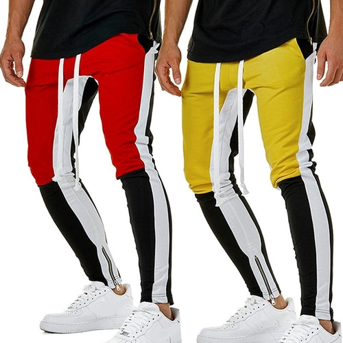 Personality Stitching Pants Men Fashion Casual Sweatpants Hip Hop Fitness Trousers - kats closet1