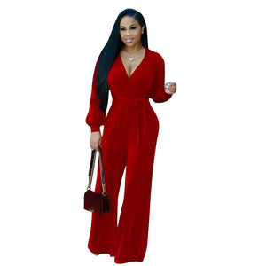 V Neck Long Sleeve Loose Jumpsuit - kats closet1