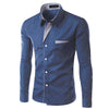 New Fashion Brand Camisa Masculina Long Sleeve Shirt Men Korean Slim Design Formal Casual Male Dress Shirt Size M-4XL 8012 - kats closet1