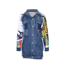 Load image into Gallery viewer, Streetwear Print Denim Jacket - kats closet1