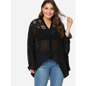 Lace Insert Dolman Sleeve See Through Top - kats closet1
