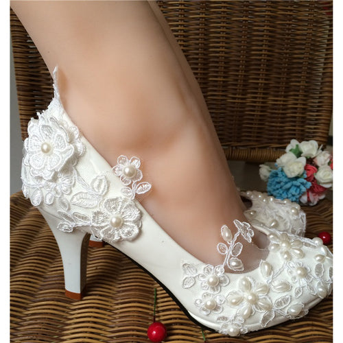 Wedding Pearl Lace Flower Prom Party Bridal Bridesmaid Flat High Low Heels shoes - kats closet1