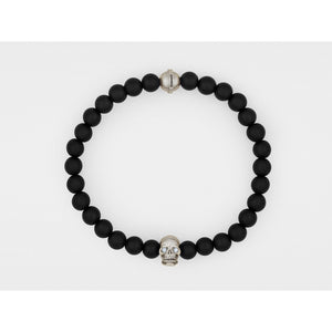 Skull Bracelet in Sterling Silver with Diamond Eyes and Black Onyx - kats closet1