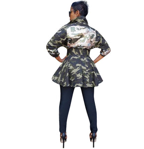Sequined Long Sleeve Camouflage Fashion Jacket