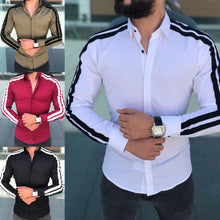 Load image into Gallery viewer, Casual Striped Long Sleeve Slim Fit Dress Shirt