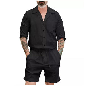 Men's Short Sleeve One Piece Shorts  Romper