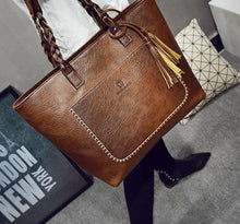 Load image into Gallery viewer, Large Leather Shoulder Tote Bag With Tassels