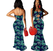 Load image into Gallery viewer, Strapless Cut Out Leaf Print Mermaid Long Maxi Dress