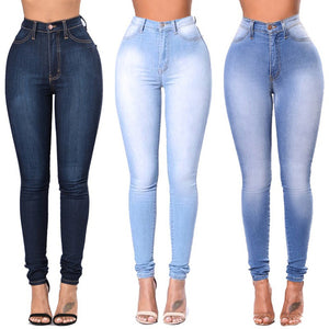 Stretch Skinny High Waist Blue Denim Jeans