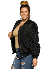 Load image into Gallery viewer, Xehar Women's Plus Size Classic Zip Up Bomber JacketXehar Women's Plus Size Classic Zip Up Bomber Jacket - kats closet1