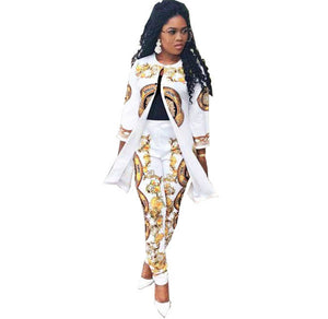Silk full diamond Shiny Jacket With Bottoming Pencil Pants - kats closet1