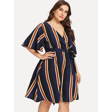 Load image into Gallery viewer, Block-Striped Angel Sleeve Wrap Dress - kats closet1
