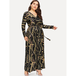 Digital Print Plunging Gown Dress - kats closet1