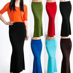 Long Solid Candy Color Jersey Flared Skirt - kats closet1
