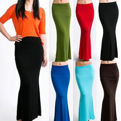 Women's Stylish Long Solid Maxi Skirt Candy Color Jersey Flared Summer Casual Dress