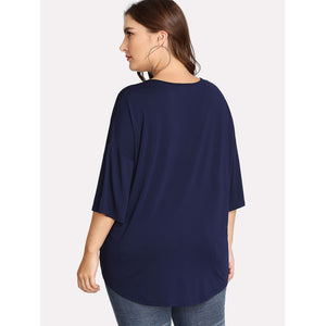 Crisscross V Neck Embroidery Knot Hem Tee - kats closet1