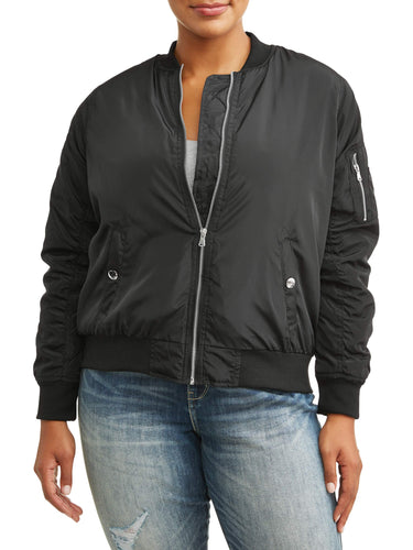 Women's Plus Size Single Tone Bomber Jacket - kats closet1
