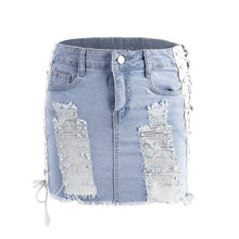 Load image into Gallery viewer, Denim Mini Skirts Women Fashion High Waist Slim Pencil Skirts Hole Style Streetwear 2018 Sexy Side Split Jean Skirts - kats closet1