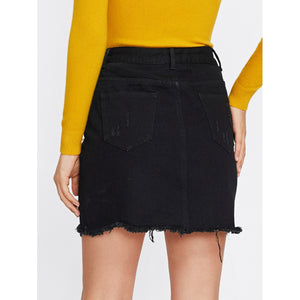 Pearl Detail Ripped Raw Cut Hem Skirt - kats closet1