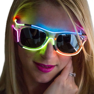 Neon Nightlife Rainbow Frame Wayfarer Light Up Glasses