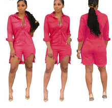Load image into Gallery viewer, Button Up With Pocket Cut Out Above Knee Overalls Denim Jumpsuit - kats closet1