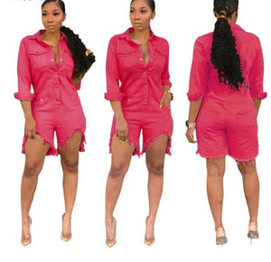 Button Up With Pocket Cut Out Above Knee Overalls Denim Jumpsuit - kats closet1