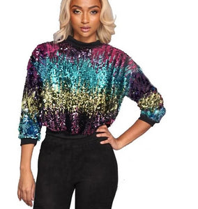 Sequin Hoodies Long Sleeve Sweatshirt - kats closet1