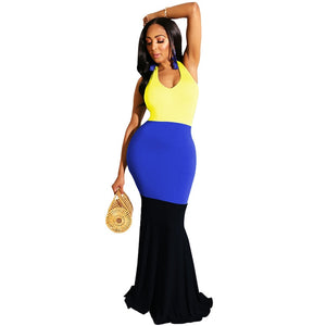 Color Block Halter Off Shoulder Long Maxi Dress