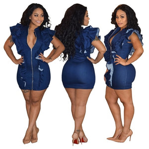 Ruffle Zipper V Neck Short Sleeve Bodycon Denim Dress