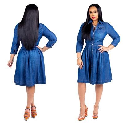 Plus Size Turn Down Collar Long Sleeve Flare Denim Dress