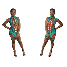 Load image into Gallery viewer, African Print Sleeveless Bodycon Dress - kats closet1