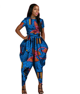 African Short Sleeve Long Pants Jumpsuit