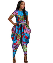 Load image into Gallery viewer, African Short Sleeve Long Pants Jumpsuit