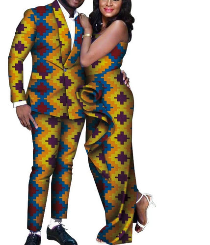 African Couple Long Draped Dress And African Men Print Jacket and Pants Set