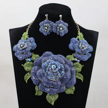 Load image into Gallery viewer, African Nigerian Wedding Big Flower Necklace Earrings Set