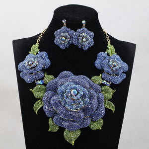 African Nigerian Wedding Big Flower Necklace Earrings Set