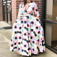 Load image into Gallery viewer, African Print V Neck Aline Casual  Polka Dot Pattern Floor Length Long Maxi Dress