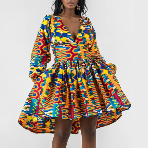 African Print Long  Lantern Sleeves Pleated Backless Swing Lace Up Knee Length Dress