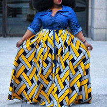 Load image into Gallery viewer, African Print  Long Sleeve Color Block Yellow Split  High Waist Shirt Dress