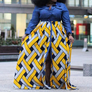 African Print  Long Sleeve Color Block Yellow Split  High Waist Shirt Dress