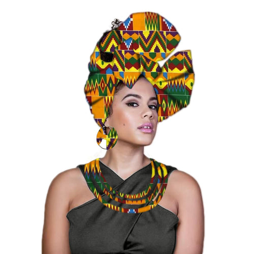 African Headwrap Nigerian Turban With Earrings