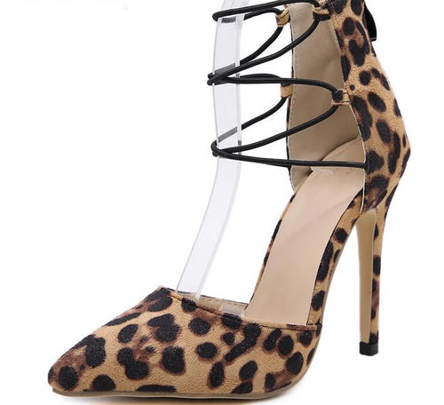 Leopard Suede Leather Pointed Toe Lace Up Stiletto Heels