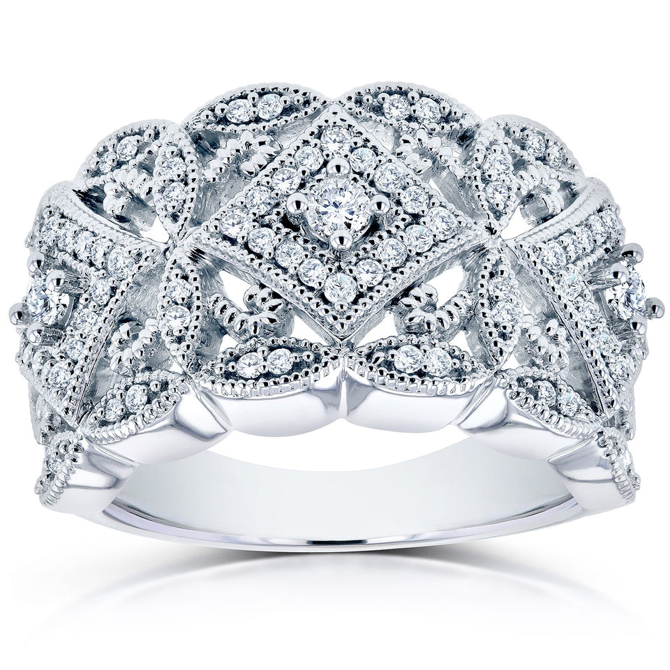 Annello by Kobelli 10k White Gold 1/2ct TDW Diamond Antique Filigree Wide Anniversary Ring - kats closet1