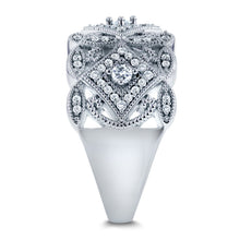 Load image into Gallery viewer, Annello by Kobelli 10k White Gold 1/2ct TDW Diamond Antique Filigree Wide Anniversary Ring - kats closet1