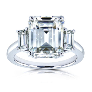 Annello by Kobelli 14k White Gold 5 1/2 Carat TGW Three Stone Emerald Cut Moissanite Statement Engagement Ring - kats closet1