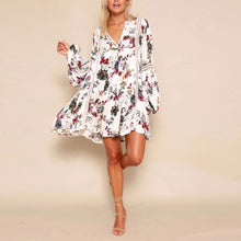 Load image into Gallery viewer, Floral print Casual V-neck long Sleeve loose dress - kats closet1