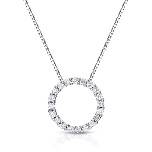 Auriya 14k White Gold Fashion Circle of Life Diamond Necklace - kats closet1