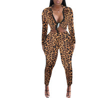 Load image into Gallery viewer, Leopard  And Letter Newspaper Print Tie Up Blouse And Pants Set